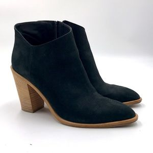 Easton Suede Booties w/ Rounded Dip Ankle